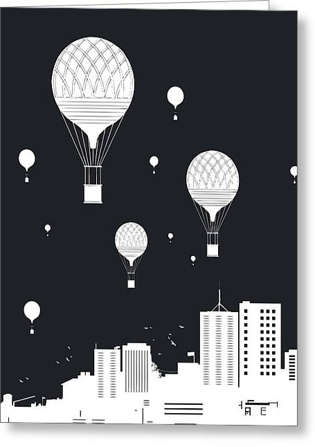 Balloons And The City Greeting Card