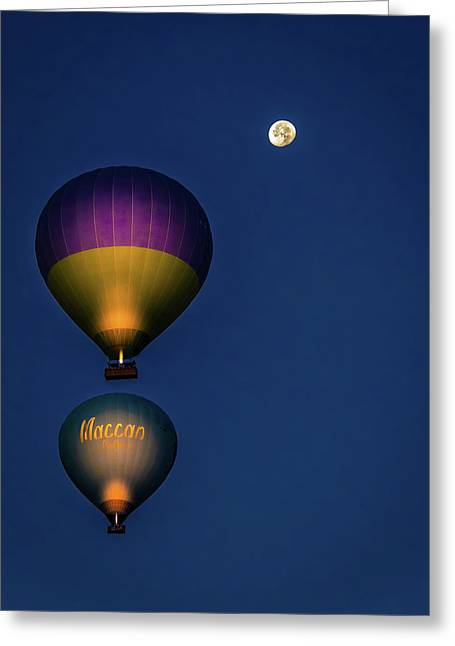 Greeting Card featuring the photograph Balloons And The Moon by Francisco Gomez