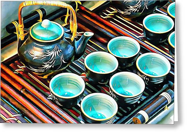 Greeting Card featuring the photograph Bamboo Handle Teapot And Cups by Dorothy Berry-Lound