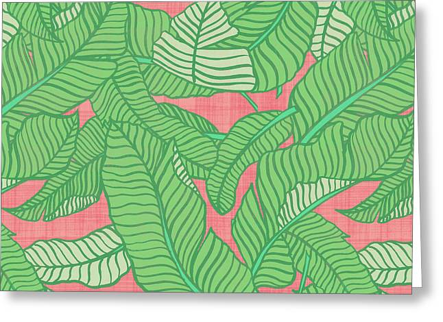 Banana Leaf Pattern Pink Greeting Card