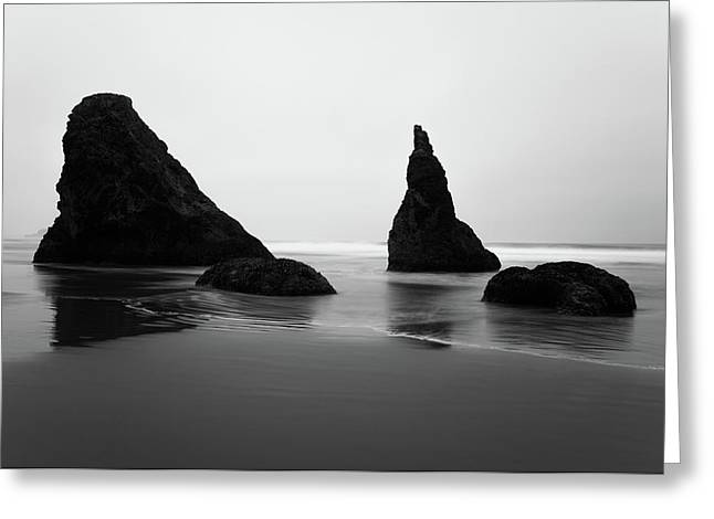 Greeting Card featuring the photograph Bandon Beach Oregon Bw by Rospotte Photography