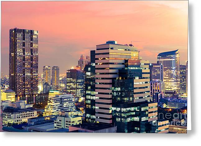 Bangkok Cityscape At Twilight, Thailand Greeting Card