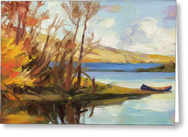 Greeting Card featuring the painting Banking On The Columbia by Steve Henderson