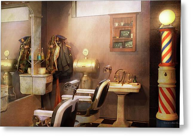 Greeting Card featuring the photograph Barber - Basement Barber by Mike Savad