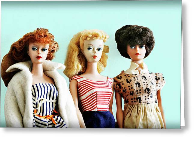 Barbies On Blue Greeting Card