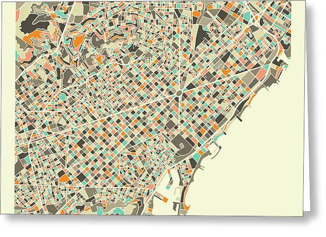 Barcelona Map 1 Greeting Card