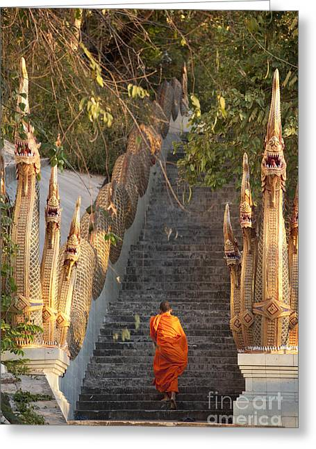 Barefooted Buddhist Monks In Chiang Mai Greeting Card