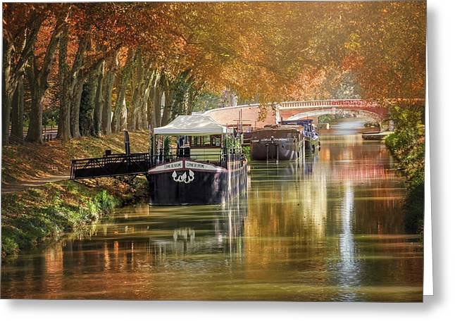 Barges On Canal De Brienne Toulouse France  Greeting Card