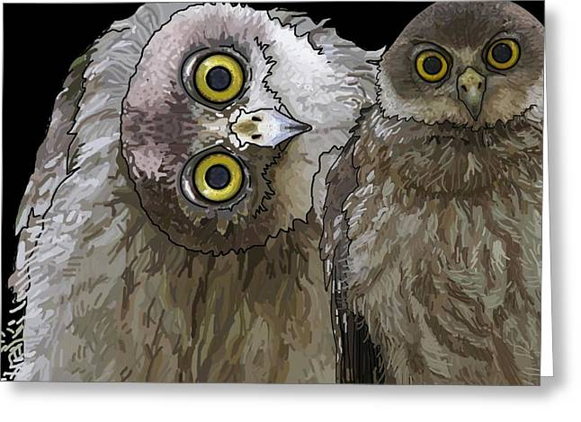 Barking Owls 2 Greeting Card