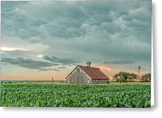 Barn In Sunset Greeting Card