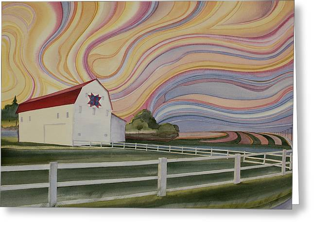 Greeting Card featuring the painting Barn On Pretty Prairie by Scott Kirby