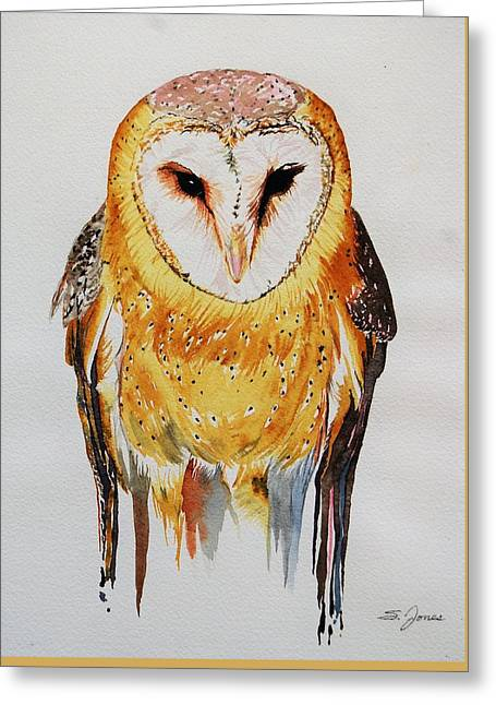 Barn Owl Drip Greeting Card