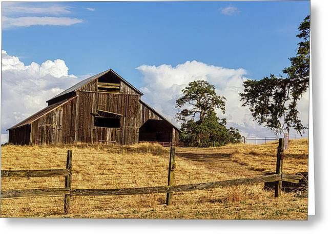 Barn With Fence In Foreground Greeting Card
