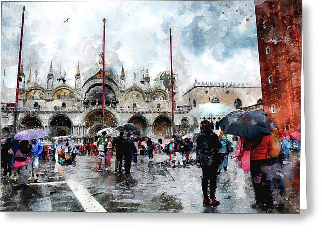 Basilica Of Saint Mark In Venice With Watercolor Look Greeting Card