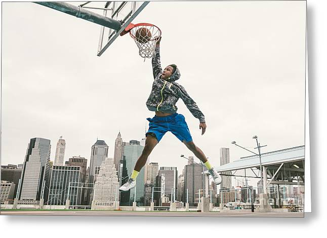Basketball Player Performing Slum Dunk Greeting Card