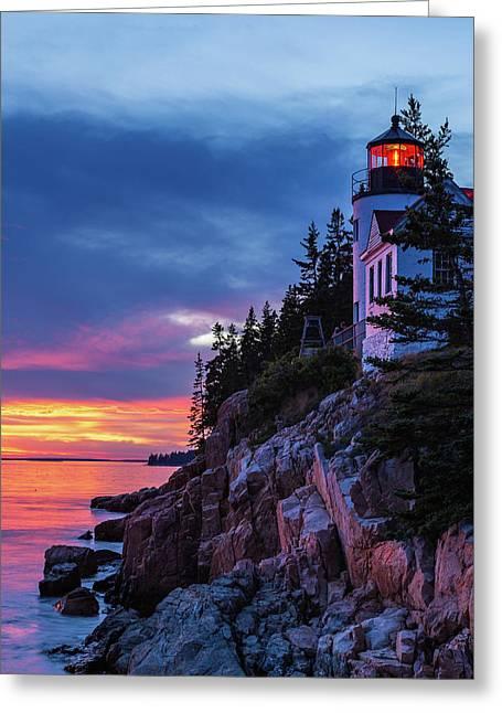 Bass Harbor Head Lighthouse At Twilight Greeting Card