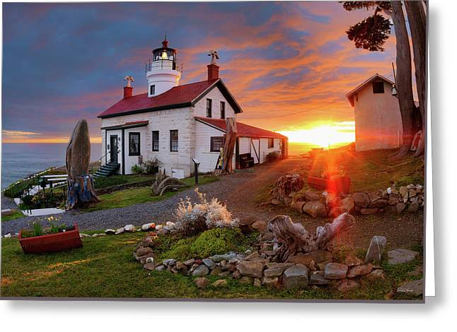 Greeting Card featuring the photograph Battery Point Lighthouse by Leland D Howard