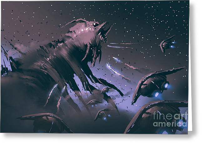 Battle Between Spaceships And Insect Greeting Card