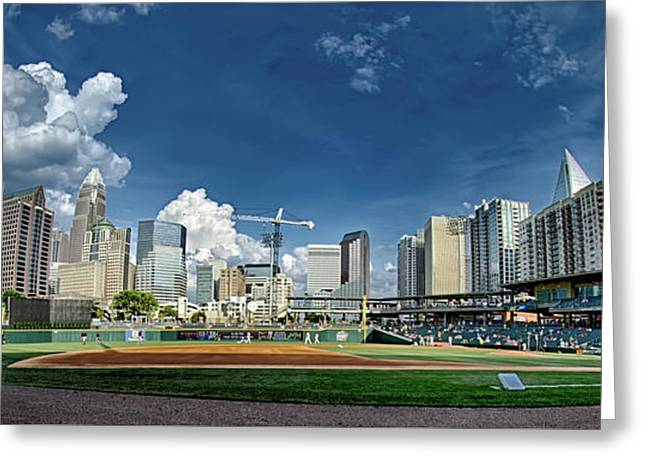Bbt Baseball Charlotte Nc Knights Baseball Stadium And City Skyl Greeting Card