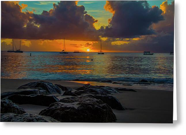 Beach At Sunset Greeting Card