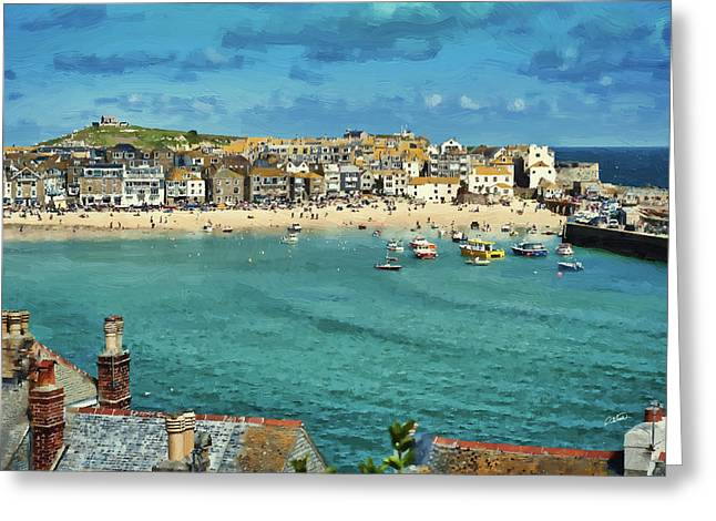 Beach From Across Bay St. Ives, Cornwall, England Greeting Card