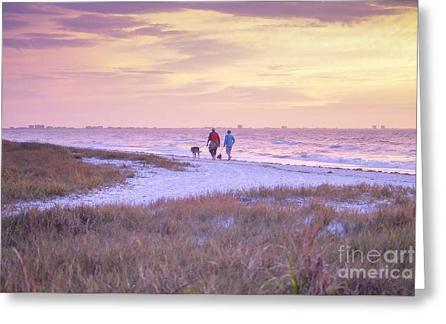 Sunrise Stroll On The Beach Greeting Card