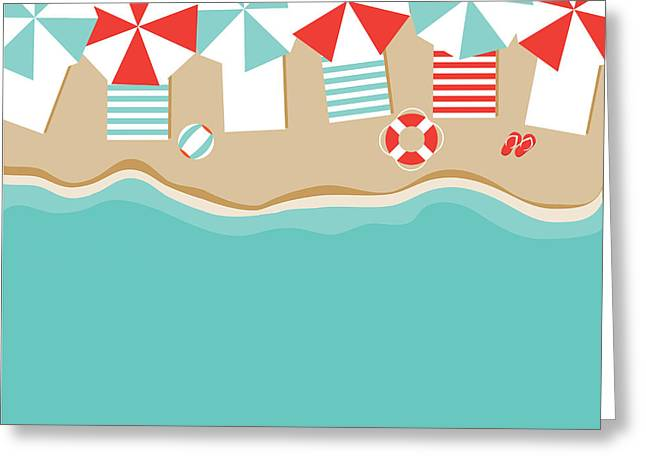 Beach Umbrellas Flat Design Background Greeting Card