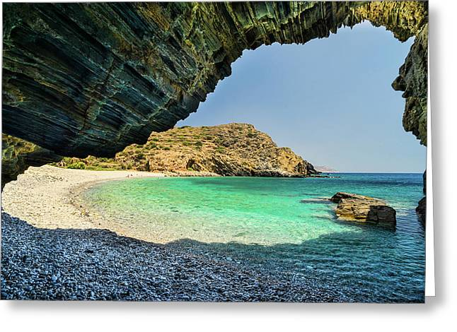 Greeting Card featuring the photograph Almiro Beach With Cave by Milan Ljubisavljevic