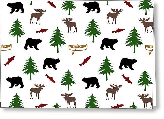 Bear Moose Pattern Greeting Card