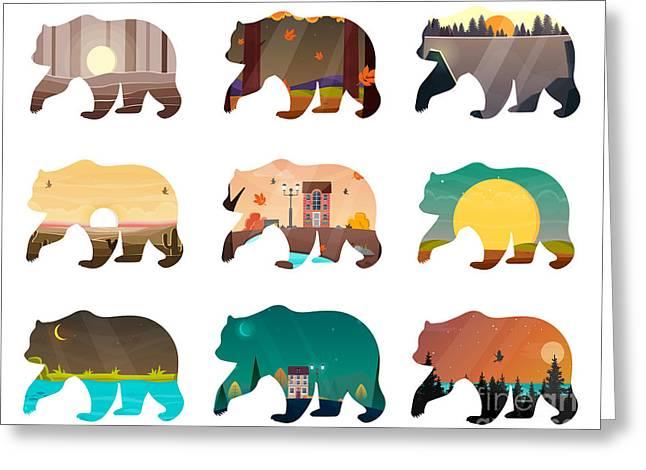 Bear Set. Nature Landscape Inside Greeting Card