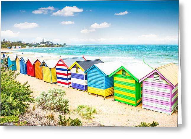 Beautiful Bathing Houses On White Sandy Greeting Card