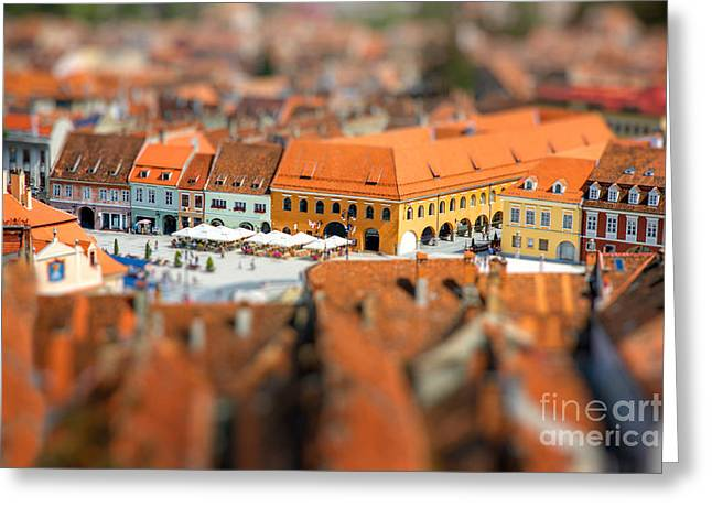 Beautiful Brasov Cityscape Top View In Greeting Card