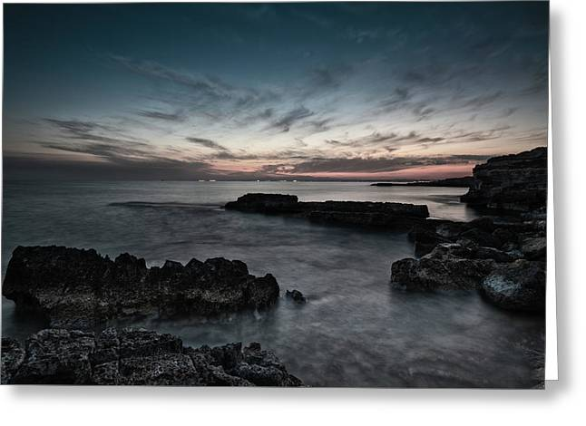 Greeting Card featuring the photograph Beautiful Dramatic Sunset On A Rocky Coastline by Michalakis Ppalis