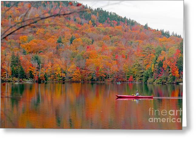 Beautiful Fall Landscape With  Lake And Greeting Card