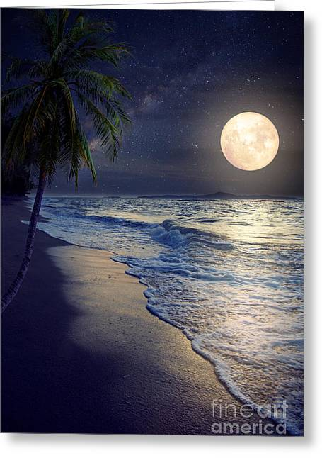 Beautiful Fantasy Tropical Beach With Greeting Card