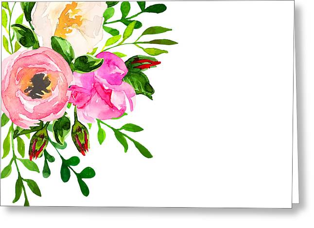 Beautiful Floral Hand Drawn Watercolor Greeting Card