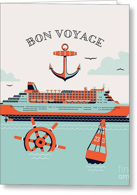 Beautiful Four Colored Bon Voyage Greeting Card