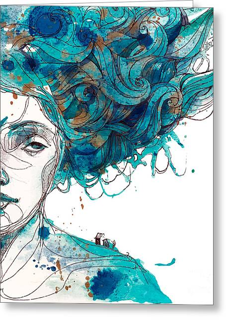 Beautiful Girls Face With Long Blue Greeting Card