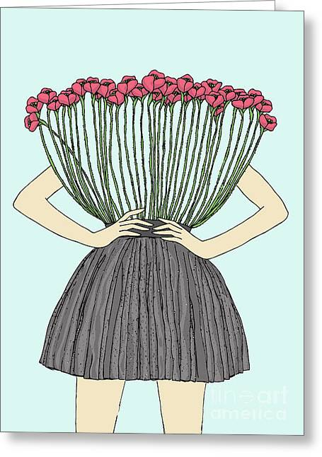 Beautiful Illustration Of Woman With Greeting Card