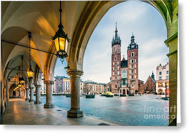 Beautiful Krakow Market Square, Poland Greeting Card