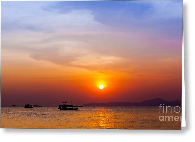 Beautiful Landscape. Sunset On The Greeting Card