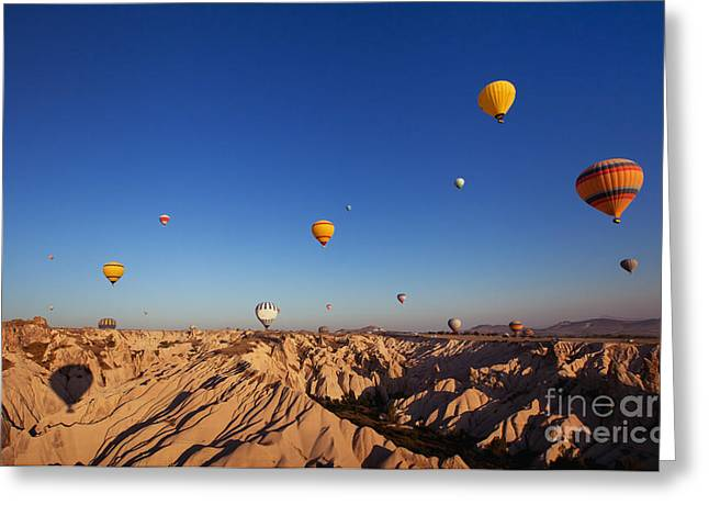 Beautiful Landscape With Hot Air Greeting Card