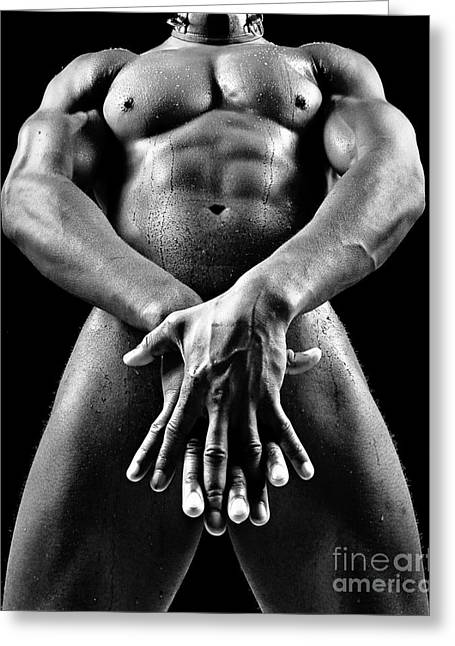 Beautiful Man Nude Or Naked With Great Sexy Body. Image In Black And White Greeting Card