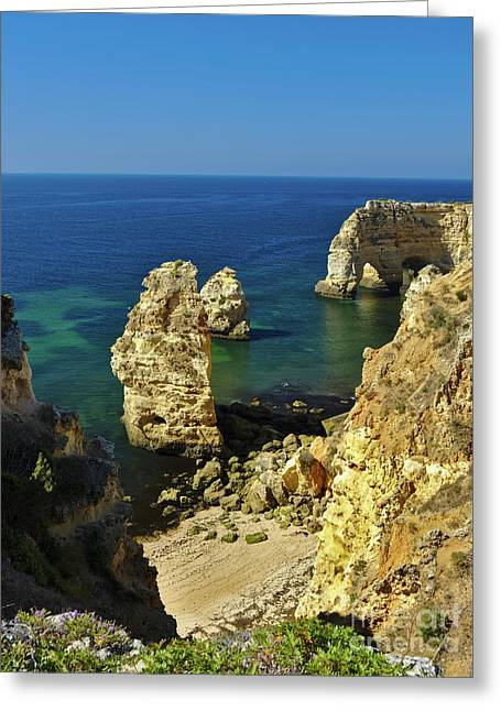 Beautiful Marinha Beach From The Cliffs Greeting Card