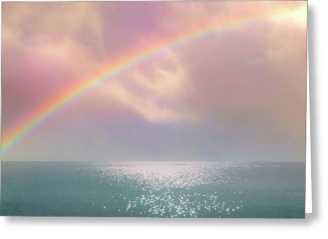 Beautiful Morning In Dreamland With Rainbow Greeting Card