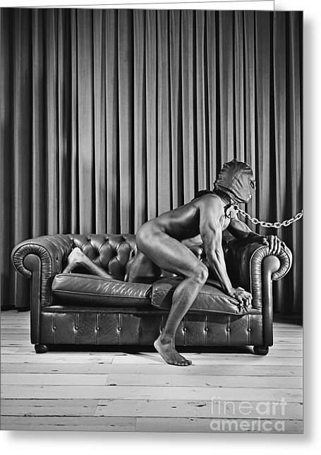 Beautiful Naked Man With Mask Posing On A Sofa Greeting Card