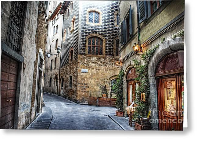 Beautiful Narrow Street In Florence Greeting Card
