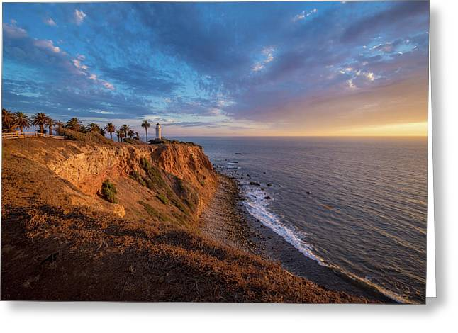 Beautiful Point Vicente Lighthouse At Sunset Greeting Card