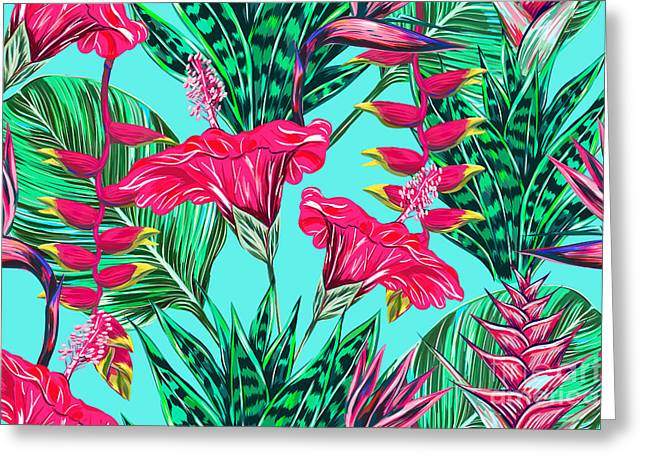 Beautiful Seamless Vector Floral Greeting Card