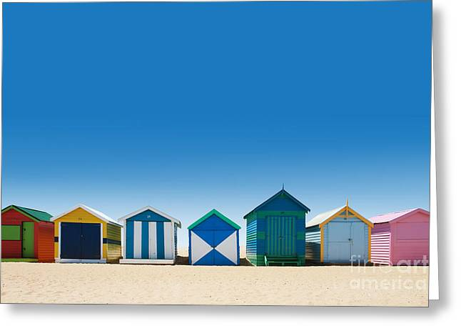 Beautiful Small Bathing Houses On White Greeting Card